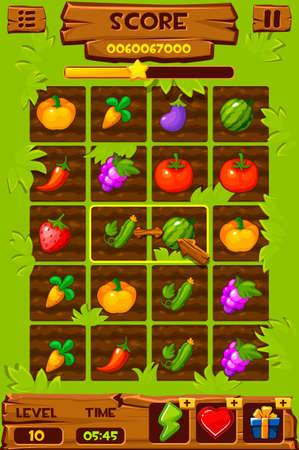 Vegetable beds, Game ui elements, 2d game icons for match 3 game. Vectores