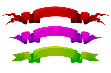 Colored cartoon ribbons, bright colorful labels for the game. Vectores