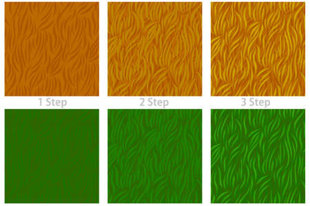 Seamless texture grass, drawing pattern step by step for the game. Vectores