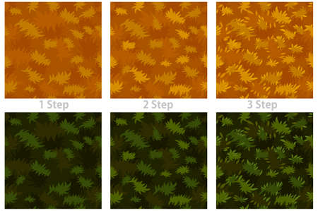 Seamless texture grass, drawing step by step dry and green grass.