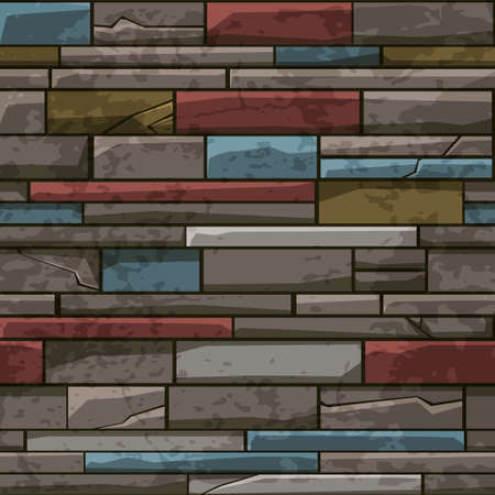 Seamless pattern stone brick old wall, multicolored texture for wallpaper.