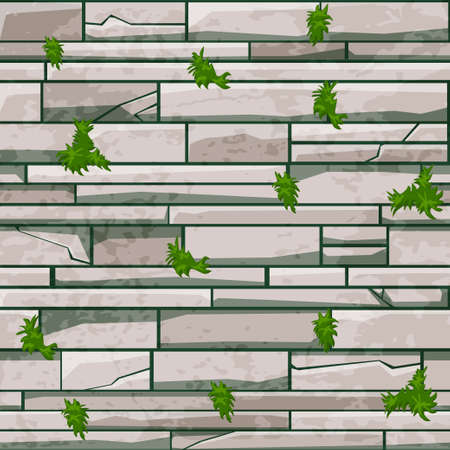 Seamless texture stone brick wall, gray pattern with grass for design. Vectores