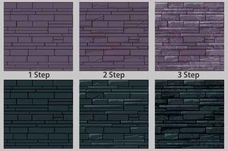 Brick stone wall seamless pattern, drawing step by step texture for wallpaper.