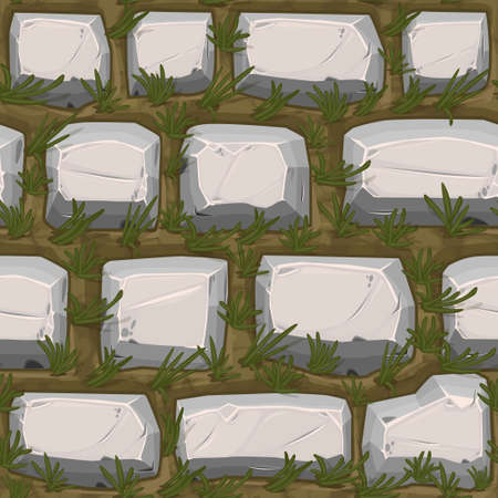 Cobble stones seamless texture with grass, gray vintage pattern for wallpaper. Vectores