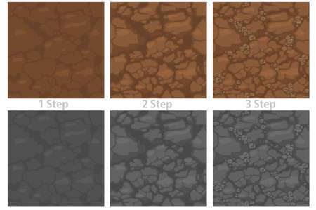 Seamless pattern ground with stones, drawing step by step soil texture for wallpaper.