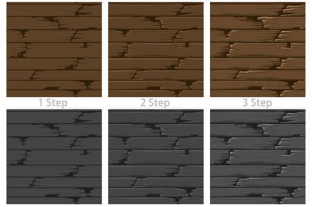 Seamless textured wood floor, drawing step by step old brown boards.