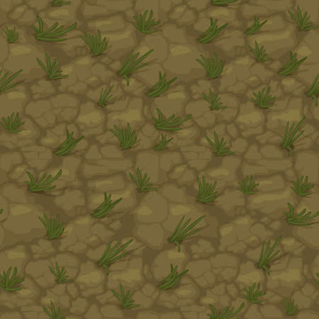 Seamless texture ground with grass, soil pattern with plants for wallpaper.