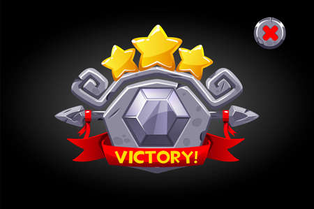 Victory pop up, stone banner ui game assets.