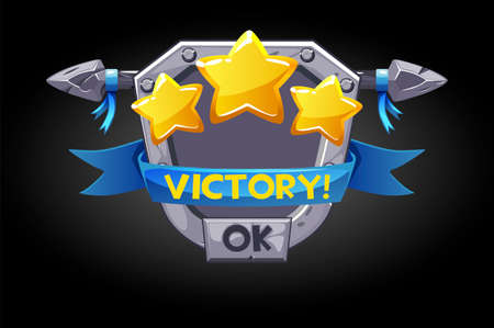 Pop-up victory, metal shield with stars assets for the game.