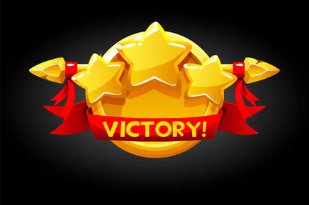 Victory pop up, golden round banner assets for game. Vectores