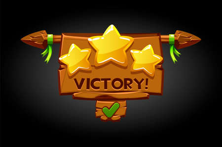 Victory pop-up, wooden old banner game assets. Vectores
