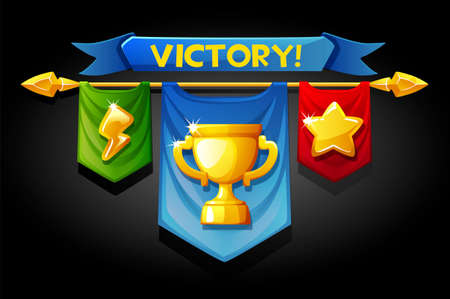 Victory banners, flags with golden cup icons for game assets. Vectores