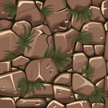 Seamless texture stones with grass, cobblestone pattern with plants for ui game.