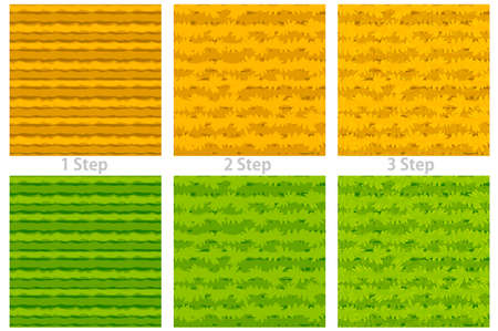 Seamless texture cartoon grass, 3 steps drawing dry and green grass for wallpaper. Vectores