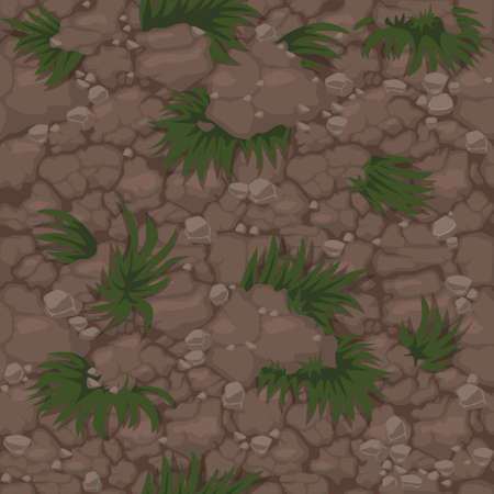 Seamless ground pattern with grass, soil texture with plants for wallpaper.