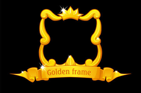 Gold frame with crown, square template with award ribbon for ui game.