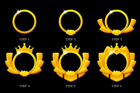 Gold frame game rank, round avatar template 6 steps animation for game.