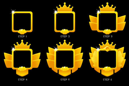 Gold frame game rank, square avatar template 6 steps animation for ui game.