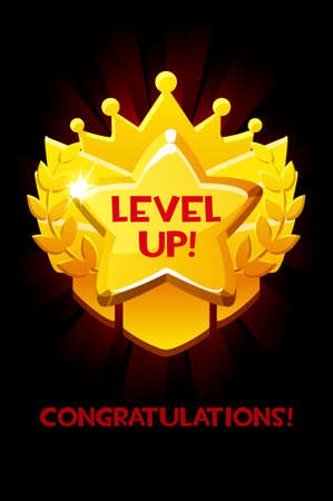 Level up reward cartoon gold icon, game app UI isolated design element for game. Vectores