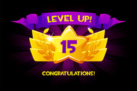 Level up reward cartoon gold icon with winner ribbon, game app UI isolated design element.