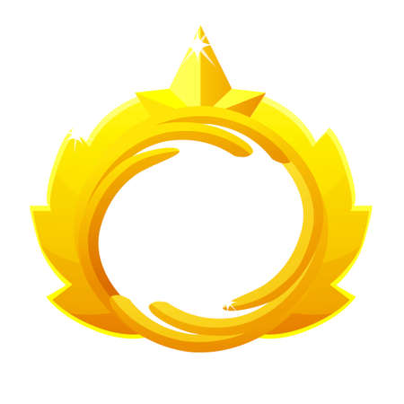 Gold game avatar, luxury round frame with crown template for game. Vectores