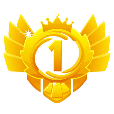 Golden Award 1st place, crown avatars for game ui. Vectores