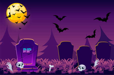 Night simple Halloween background, scary cemetery skull for game.
