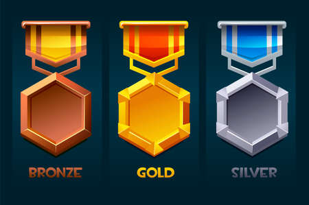 Level up badge reward icon gold, silver, bronze for ui games.