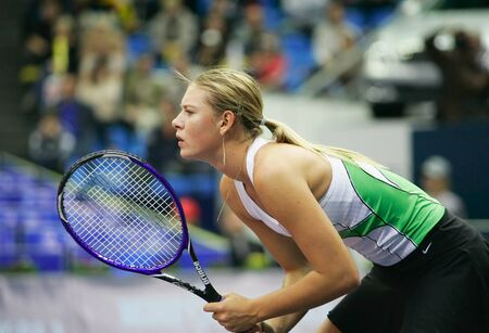 olympic game: Moscow, Russia - october 14,2005 - Russias Maria Sharapova in the quarterfinal game of the Kremlin Cup tennis tournament on October 14, 2005 in Moscow.