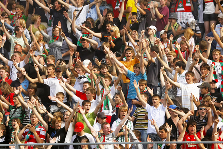 Moscow, Russia - July 27,2008 - Spectators in the stands  during a soccer match between  Lokomotiv  vs  Moscow  , July 27,2008 in Moscow