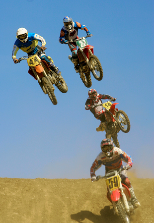motorsprot: Yakhroma, Moscow region, Russia - June 12, 2004 - On the course, the participants of the European Championship motocross in Yakhroma, June 12, 2004 in Yakhroma, Moscow region, Russia