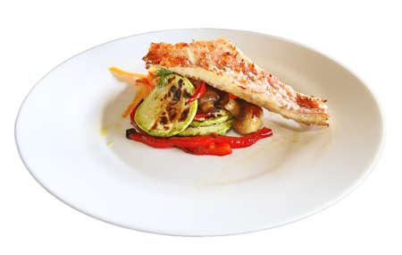 Tasty fish on a plate Banco de Imagens