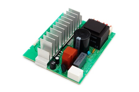 main board: Electronic circuit board on white background Stock Photo