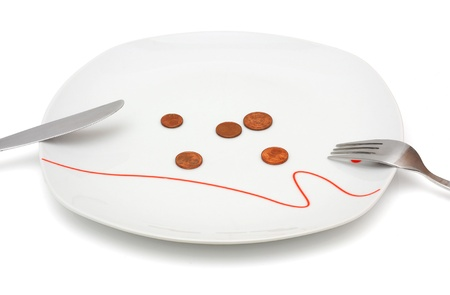 Concept of no money for food with coins and plate photo