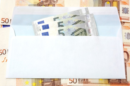 Euro  money in an envelope and cash background photo