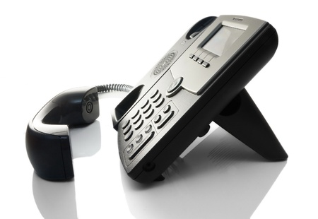 press agent: telephone off the hook on a white background Stock Photo