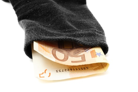 bankomat: deposit security concept with money in sock Stock Photo