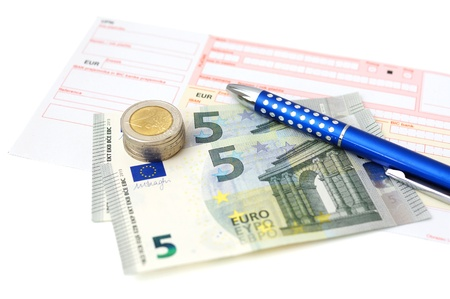 Euro bank transfer with  money, slip, pen photo