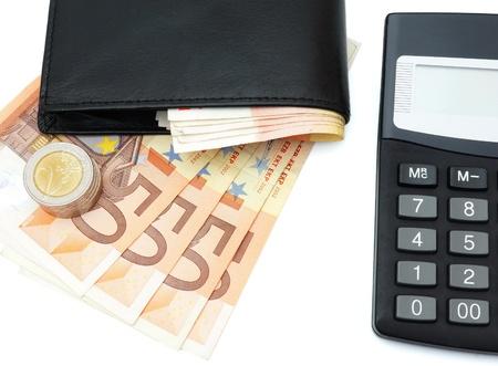 billets euro: concept de faire de l'argent avec portefeuille, argent, calculatrice