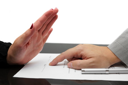 refusing: woman refusing to sign contract or divorce