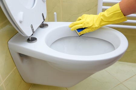 toilet cleaner cleaning toilet stock photo