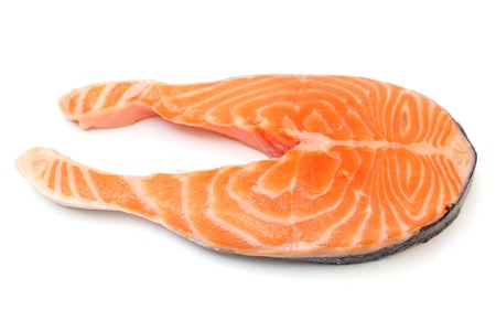 Fresh raw salmon isolated on white background photo
