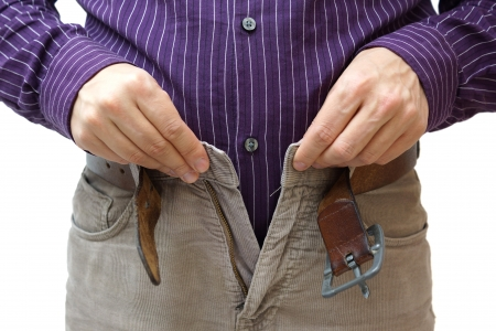 unable: men hands unable to close the pants due to gaining weight