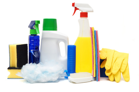 cleaning products isolated over white photo
