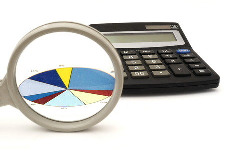 synergies: concept of analyzing in office with magnifier,calculator,graph Stock Photo