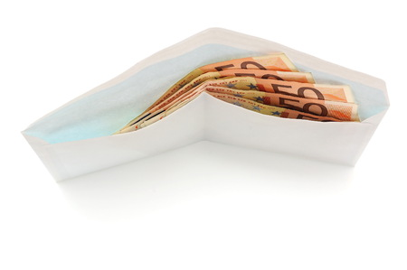 Euro banknotes in envelope isolated on a white background photo