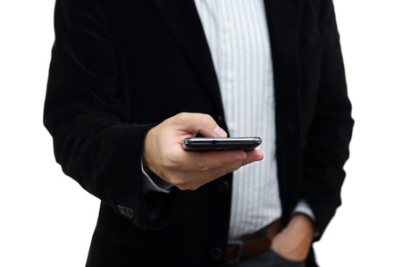 businessman working with mobile phone photo