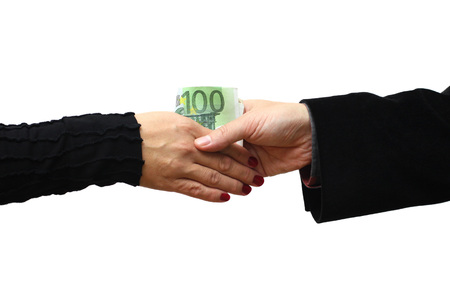 venal: Handshake with money isolated on white background Stock Photo