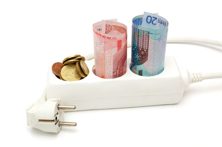 concept of energy savings with money in electric splitter