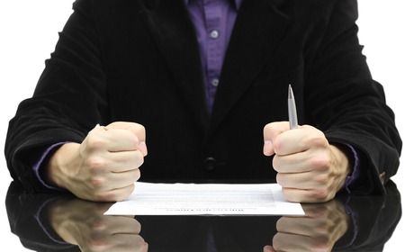 angry boss: angry boss when reading contract